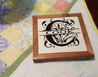 Personalized Monogram Trivet, hot plate