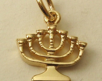 Genuine SOLID 9K 9ct YELLOW GOLD 3D Menorah Candle charm/pendant