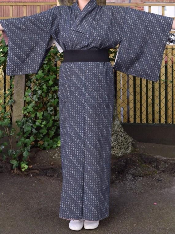 Vintage kimono cotton grey EV42