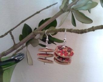 Wooden Button Dangle Earrings