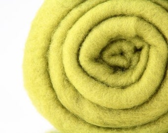 Carded Maori Wool in chartreuse - 8 0z