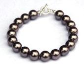 Charcoal grey pearl bracelet - Grade A South Sea pearls - silver wire bracelet