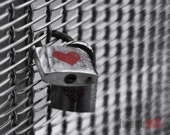 Symbol of love - key lock to chain fence | heart | - romance fine art black & white art print