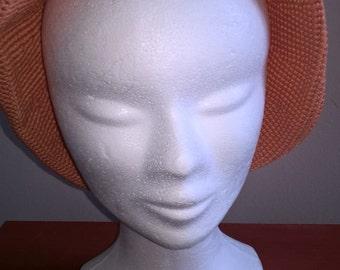 Coral color crochet Hat