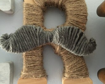 Wood letters with string
