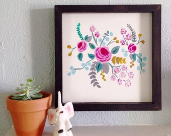 Hand Painted Floral Wood-Frame Sign