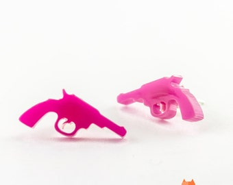 Pink Lasercut Plexiglass Revolver Stud Earrings