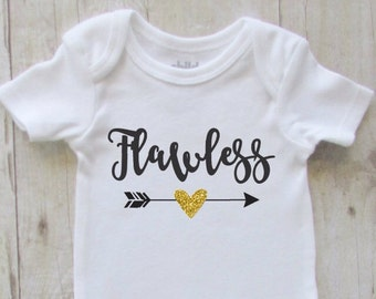 Baby shirt - baby girl clothes - flawless - glitter baby bodysuit - baby shower gift ideas - flawless black with gold glitter baby bodysuit