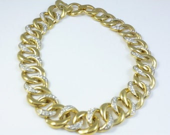 Chunky Gold Necklace, Gold Plated Link Necklace, Gold Crystal Necklace, Light Weight , Vintage
