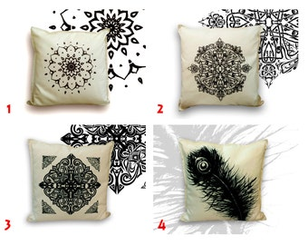 """Artistic, hand drawn, home decor pillow, off white and black, hand print, gift for her, Luxury, throw pillow, decorative pillow, 25""""X 25"""""""