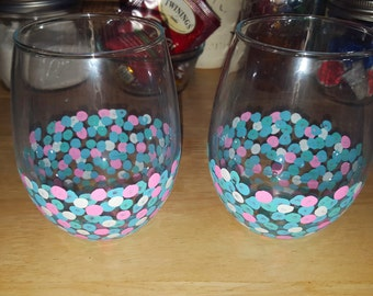 Set of 2 Stemless Dotted Hand Painted Wine Glass Polka Dots Pink Blue White Aqua