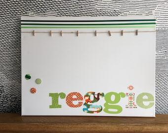 "Personalised decorative peg board - with button motif - 18"" x 24"" - reggie"