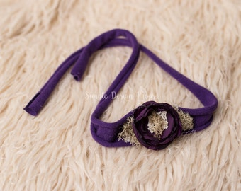 Newborn Tieback - Purple Tieback - Jersey Tieback - Newborn Headband - Newborn Photo Prop - Purple Flower Headband - RTS Photography Prop