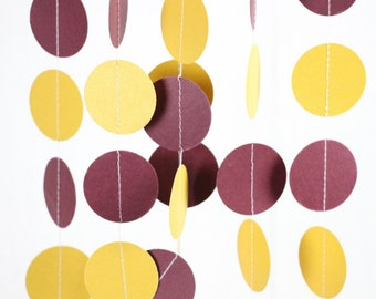 Burgundy Gold Graduation Decor, Birthday Party Paper Garland