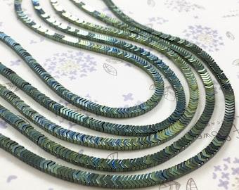 1Full Strand 3*2mm Aqua  Hematite Beads,Hematite Gemstone Beads For Jewelry Making