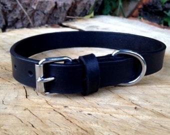 Hand Made Black Leather Dog Collar Strong Medium