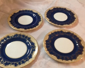 4 Vintage Crown Staffordshire Luncheon Plates