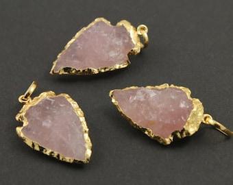 Natural Rose quartz Arrowhead gold dipped pendant