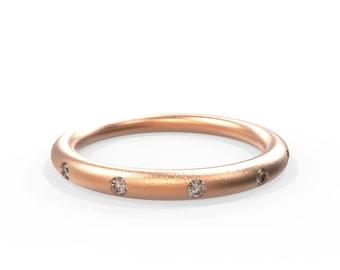 Diamond Rose Gold Wedding Ring | Handmade 14k solid rose gold wedding ring set with 12 brilliant cut diamonds