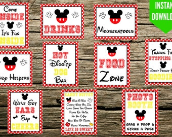 "Mickey Mouse Birthday Party Signs - 8""x10"" Printable - Instant Download Photo Booth Come inside Mousekatools Hot Diggity Dog We've got ears"