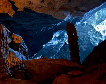 Cavern in Halong Bay, Vietnam, creating a wonderful natural light contrast