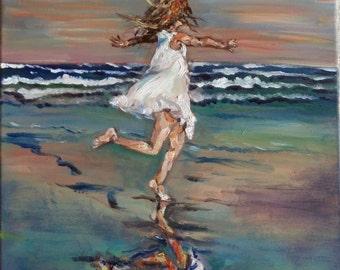 "Original Oil Painting, Dance on beach, 16""x20"", 1610203"