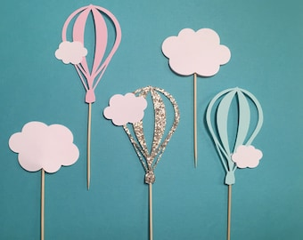 Hot Air Balloon Cupcake Toppers | Cloud Cupcake Toppers | Baby Shower Cupcake Toppers | Baby Boy Baby Girl Cupcake Toppers