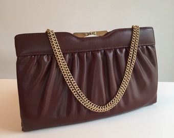 Vintage Clutch, Vintage Purse, Vintage Maroon/Brown Clutch with Chain Handle