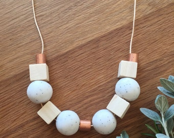 Polymer Clay Bead Necklace. Marble,