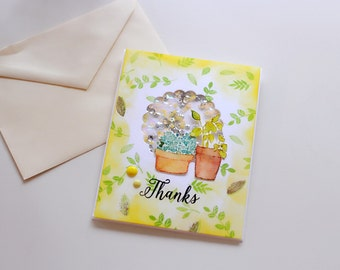 handmade thank you card leaves plants shaker card