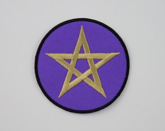 Pentagram on Purple Iron On/ Sew On Embroidered Cloth Patch Badge Appliqué magic star wicca wiccan witch wizard pagan UK seller Size: 6.8cm