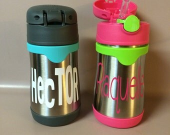 Stainless Steel Foogo Thermos Sippy Cup w Straw Spout. Keeps Cold for hours. Vacuum Insulated Juice Cup. Monogrammed Cup for Daycare.