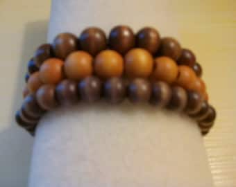 Bracelet, Beautiful beaded wood stretch bracelets with or without charms