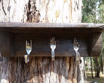 Quirky and rustic 3 cutlery hook coat rack shelf combination