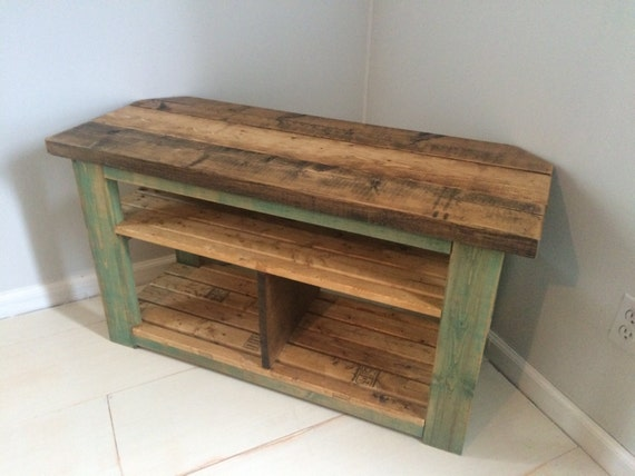 Rustic Corner Tv Wood Stand Console Teal Distressed