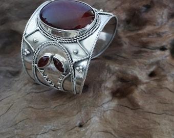 Poyan shifter for Sugati .. Handmade Sterling silver cornelian Cuff -Sugati 164
