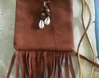 Fringed small poke bag/ accessory