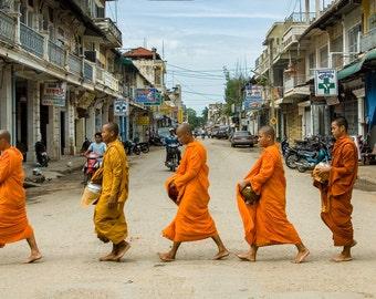 Battambang Monks, Cambodia, Fine Art Photography, Travel Photography, Print, Southeast Asia