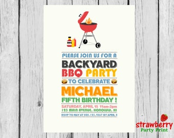 BBQ Birthday Invitation, Barbeque Party Invite, Cookout Backyard BBQ, Barbecue Grill Party, Digital Printable