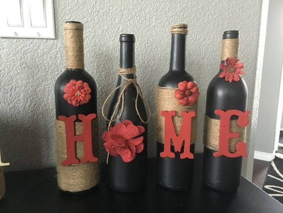 Items similar to wine bottle home decor wine bottle home for Wine bottle decorations handmade