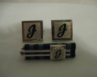 Vintage Silver Tone Cufflink Tie Bar Set With Script J