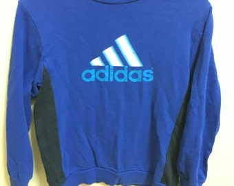 Vintage 90's Adidas Blue Classic Design Skate Sweat Shirt Sweater Varsity Jacket Size M #A87