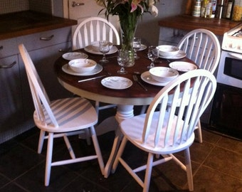Upcycled beech table and chairs