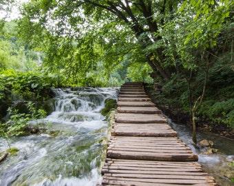 Croatia, Plitvice Lakes, Nature, Waterfalls, Pathway, Travel, Print, Fine Art, Wall Art, Photograph, Trees, National Park, Landscape