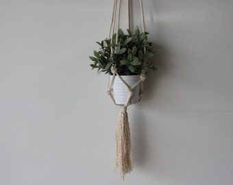 Thick Rope Plant Holder with Fringed Ends