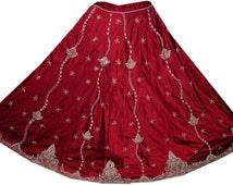Vintage Maroon Satin Lehenga  Zari Zardozi Dabka Work Long Fashion Skirt Wedding Fashion Ooak  L586