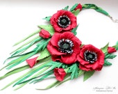 Poppies Leather jewelry, Leather flowers, Unique bib neckl,Leather flowers Birthday gift , wildflowers Leather, leather flowers  red Poppies