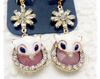 fox and flower, earrings