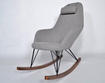 Modern upholstered Wooden Legs Gray Rocking Chair Adjustable Headrest