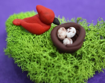 Miniature Bird and Nest, Miniature Redbird, Sculpey Clay Bird, Terrariums, Fairy Garden, Clay Animals, Miniature Clay Bird, Minature Garden